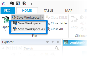save workspace