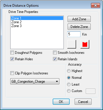 isochone options dialog