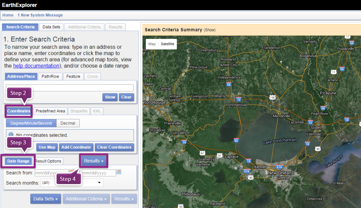 Choose area from USGS web site