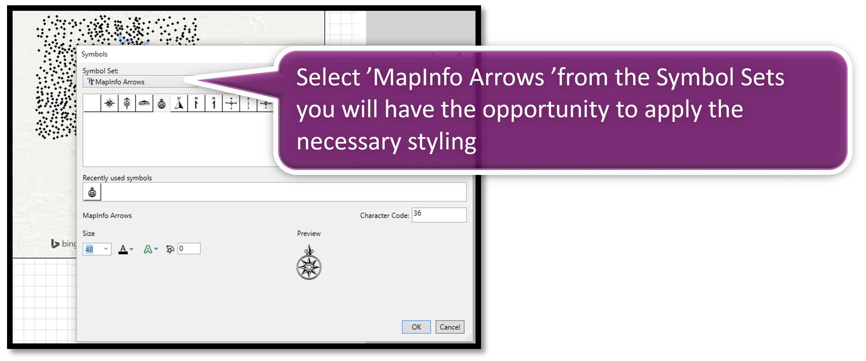Select MapInfo Arrows