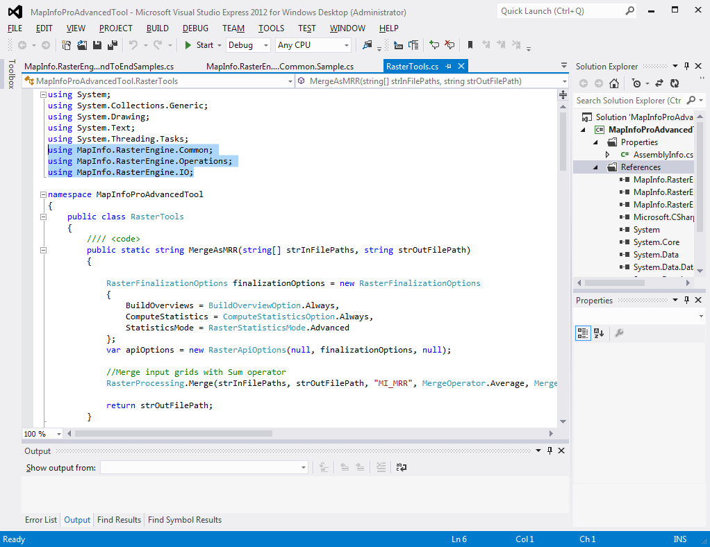 Developer dojo getting started with the mapinfo pro raster api adding using statements biocorpaavc Images
