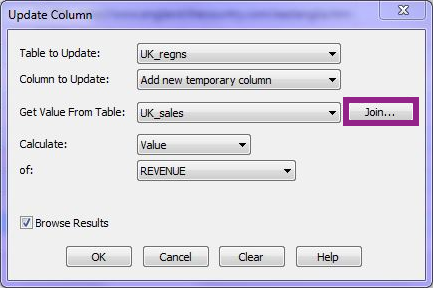 Update column dialog UK
